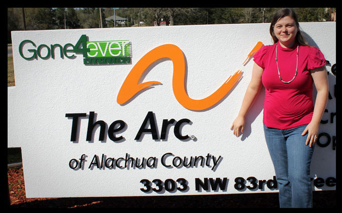 Regan Stedwell outside The Arc of Alachua County
